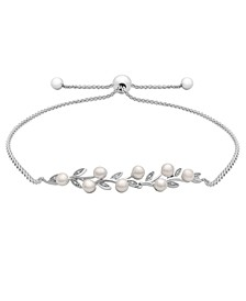 Cultured Freshwater Pearl (4mm) and Diamond (1/20 ct. t.w.) Bolo Bracelet in Sterling Silver