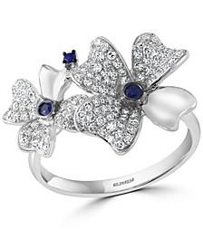 EFFY® Sapphire (1/10 ct. t.w.) & Diamond (1/2 ct. t.w.) Flower Ring in 14k White Gold