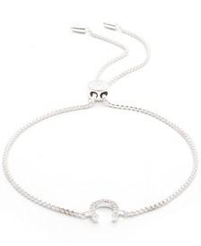 Cubic Zirconia Horseshoe Bolo Bracelet in Sterling Silver