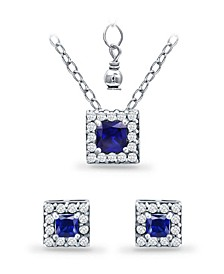 Simulated Blue Sapphire and Cubic Zirconia Halo Square Pendant and Earring Set, 3 Piece