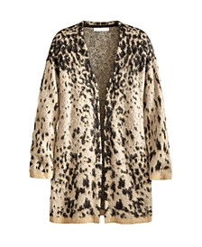 Women's Spotted Fuzzy Drop Shoulder Cardigan