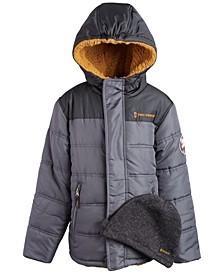Little Boys Puffer Coat & Beanie