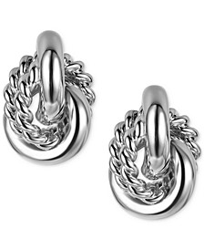 Silver-Tone Textured Ring Drop Earrings, Created for Macy's