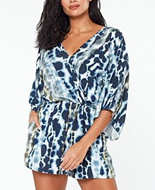 Printed Flutter-Sleeve Romper Cover-Up, Created for Macy's
