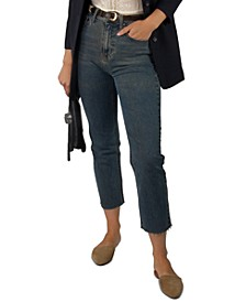 Juniors' High Rise Slim Straight Cropped Jeans