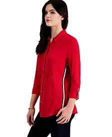 Knit Roll-Tab Shirt