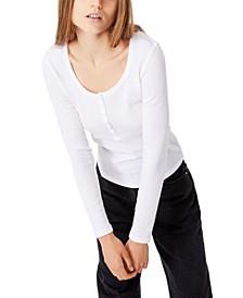 Women's Winnie Waffle Scoop Henley Long Sleeve Top
