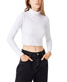 Women's Everyday Chop Mock Neck Long Sleeve Top