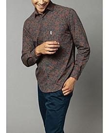 Men's Long Sleeve Floral Print Poplin Shirt