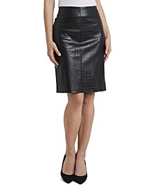 Women's Croc Pleather Pencil Skirt
