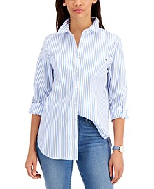 Striped Pleat-Back Cotton Shirt, Created for Macy's