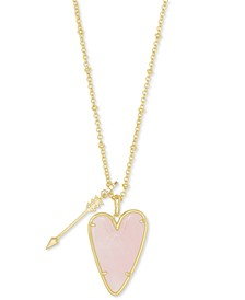 "14k Gold-Plated Arrow & Stone Heart 32"" Adjustable Long Pendant Necklace"