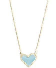 "Stone Heart Pendant Necklace, 15"" + 2"" extender"