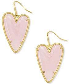 14k Gold-Plated Gemstone Heart Drop Earrings