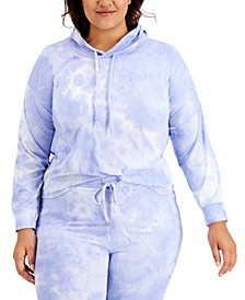 Plus Size Tie-Dyed Hooded Sweatshirt