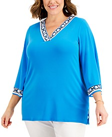 Plus Size Printed-Trim V-Neck Top, Created for Macy's
