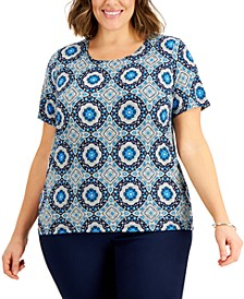 Plus Size Geometric-Print Top, Created for Macy's