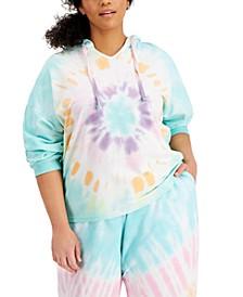Trendy Plus Size Tie-Dyed Hoodie Sweatshirt