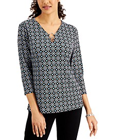 Printed Ring-Embellished 3/4-Sleeve Top, Created for Macy's