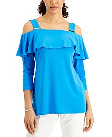 Solid 3/4-Sleeve Cold-Shoulder Top, Created for Macy's
