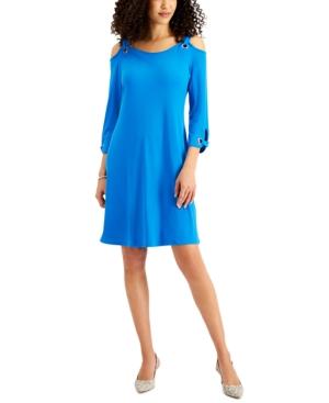 Solid 3/4-Sleeve Cold-Shoulder Dress