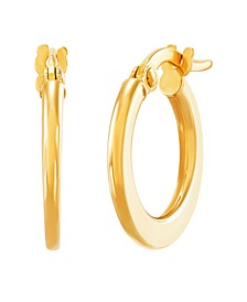 Polished Flat Round Hoop Earrings in 10K Yellow Gold