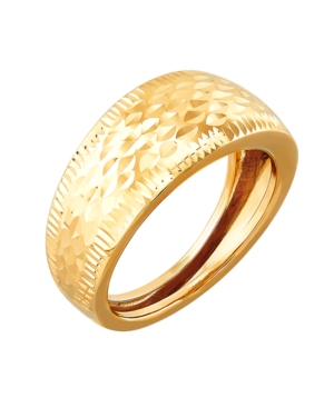 Polished Diamond Cut Dome Ring in 10K Yellow Gold