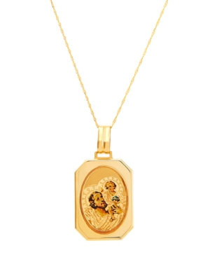 """Polished Solid Saint Christopher Medallion on 18"""" Chain 14K Yellow Gold"""