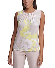 Petite Sleeveless Floral-Print Pleat-Neck Knit Top