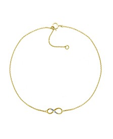 "Diamond Accent Infinity Anklet In 14K Gold-Plated Sterling Silver , 9"" + 1"" extender"