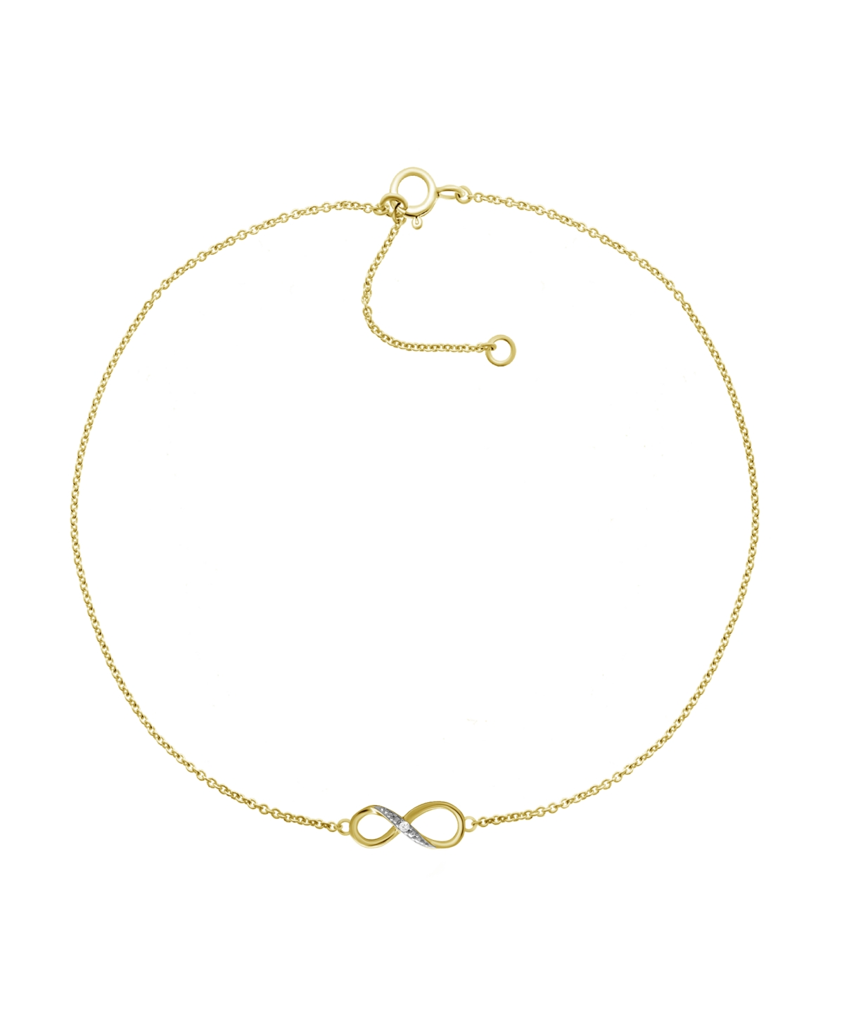 """Diamond Accent Infinity Anklet In 14K Gold-Plated Sterling Silver, 9"""" + 1"""" extender"""