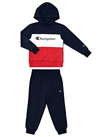 Toddler Boys High Density Script Fleece Jogger 2 Piece Set