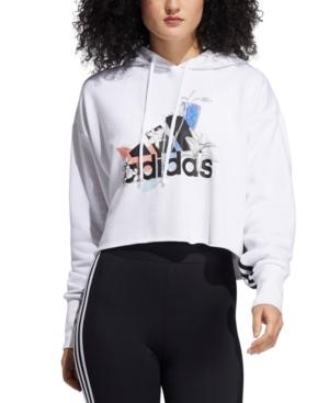 Adidas Originals ADIDAS WOMEN'S CROPPED LOGO-PRINT HOODIE