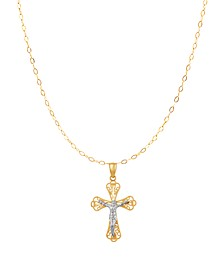 """Polished Diamond Cut Crucifix 18"""" Pendant Necklace in 10K Yellow Gold and White Rhodium"""