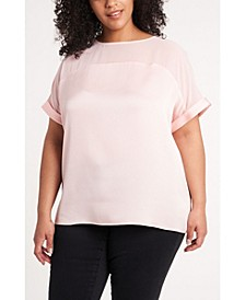 Women's Plus Size Short Sleeve Hammer Satin Blouse with Chiffon Yoke
