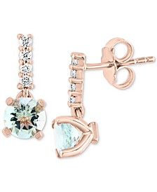 EFFY® Aquamarine (1-1/2 ct. t.w.) & Diamond (1/6 ct. t.w.) Drop Earrings in 14k Rose Gold