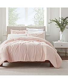 Simply Clean Antimicrobial Pleated Full and Queen Comforter Set, 3 Piece