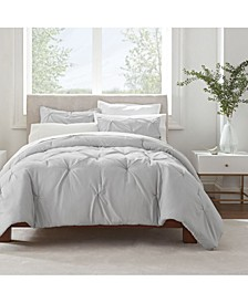 Simply Clean Microbe Resistant Pleated Full and Queen Comforter Set, 3 Piece