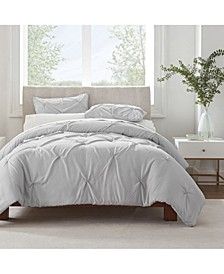 Simply Clean Microbe Resistant Pleated Full and Queen Duvet Set,3 Piece