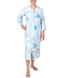 Floral-Print Long Zipper Robe