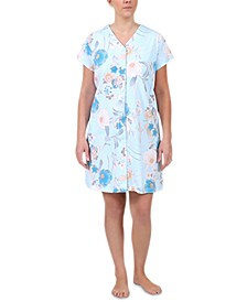 Floral-Print Short Gripper Robe