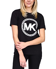 Cotton Chain-Print Logo T-Shirt