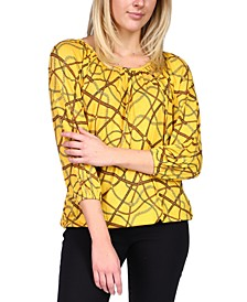 Printed 3/4-Sleeve Top, Regular & Petite Sizes