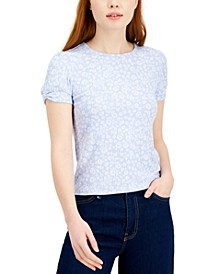 Juniors' Floral Puff Sleeve Top