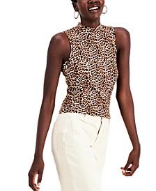 Juniors' Sleeveless Leopard Mock Neck Top