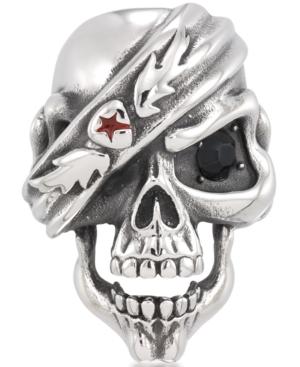 Men's Black Cubic Zirconia & Red Enamel Pirate Skull Ring in Stainless Steel