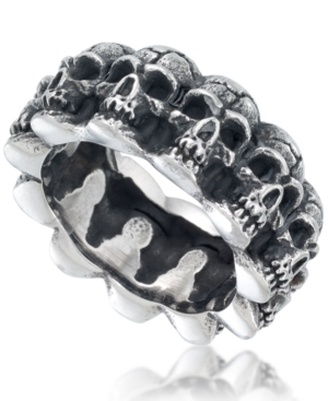 Men's Multi Skull Ring in Oxidized Stainless Steel