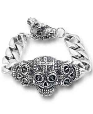 Men's Ornamental Skull Curb Link Bracelet in Stainless Steel