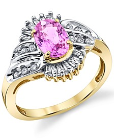 Pink Sapphire (1 ct. t.w.) & Diamond (1/3 ct. t.w.) Ring in 14k Gold & Rhodium-Plate