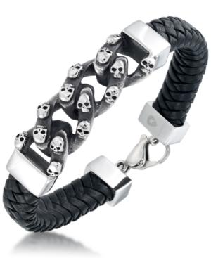Men's Skull Link Leather Bracelet in Stainless Steel